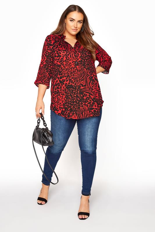 YOURS LONDON Red Animal Print Button Blouse_B.jpg