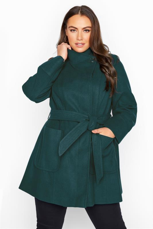 Plus Size  Teal Belted Coat