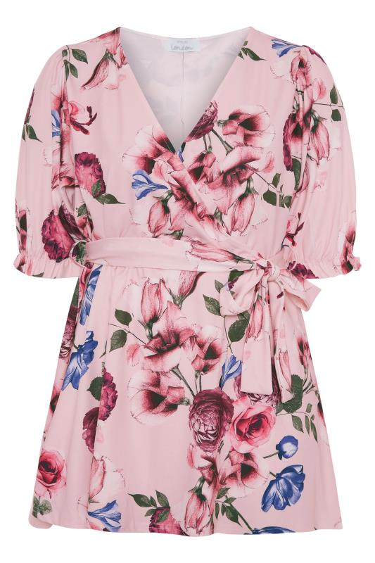 YOURS LONDON Pink Floral Puff Sleeve Wrap Top_F.jpg