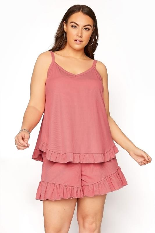 Plus Size  LIMITED COLLECTION Pink Frill Ribbed Pyjama Shorts
