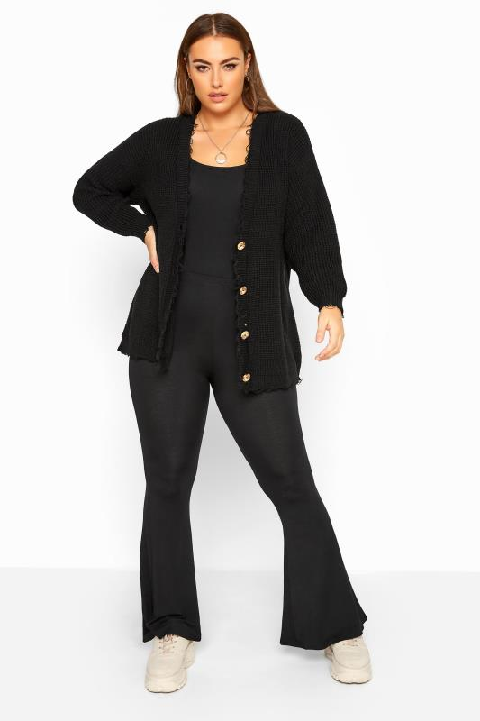 Black Distressed Knitted Cardigan