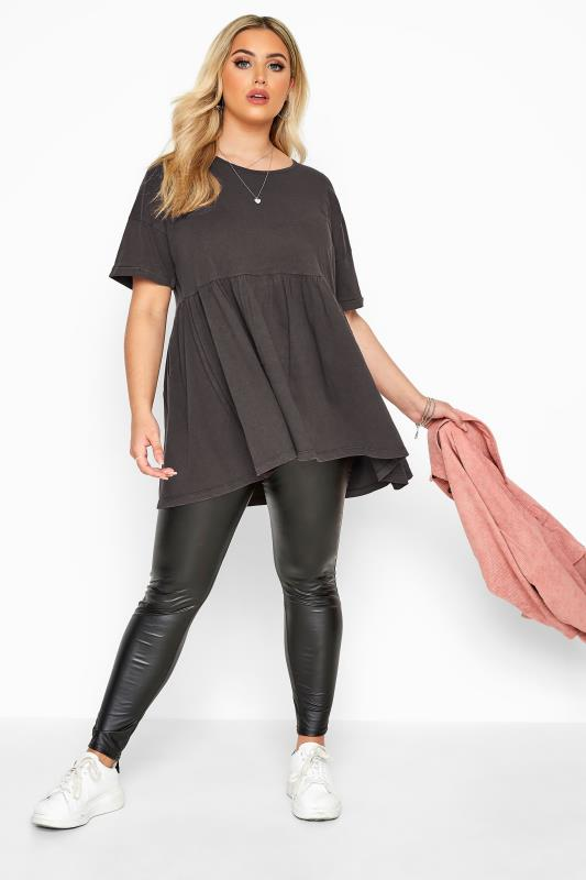 Plus Size Jersey Tops Charcoal Grey Acid Wash Drop Shoulder Peplum Top
