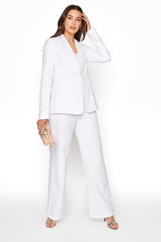 Tall Trousers White Broderie Anglaise Wide Leg Trousers