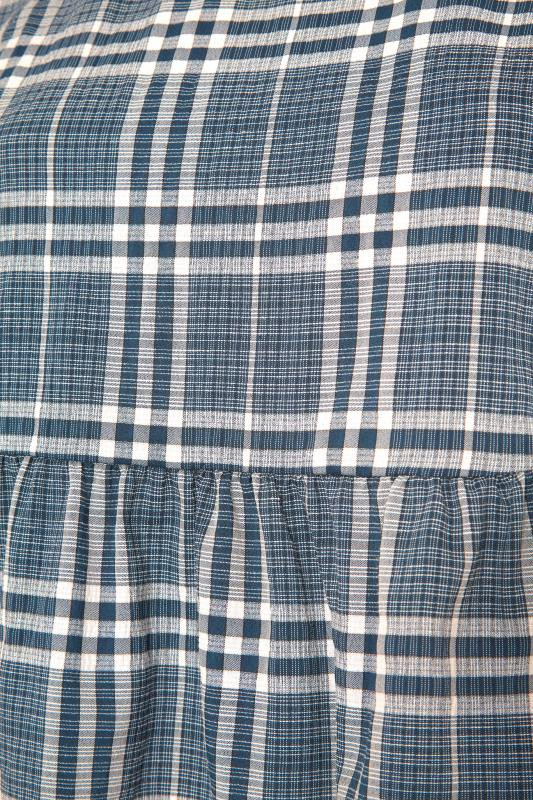 THE LIMITED EDIT Blue Check Tie Sleeve Peplum Blouse_S.jpg