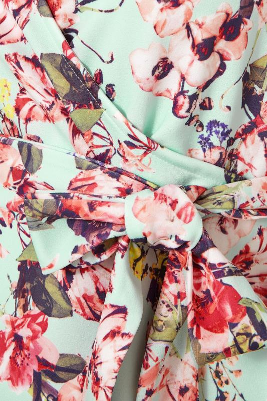 YOURS LONDON Sage Green Floral Puff Sleeve Wrap Top_S.jpg
