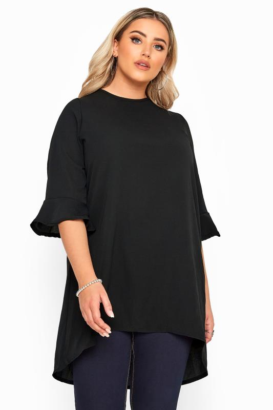 Plus-Größen Tunics YOURS LONDON Black Flute Sleeve Tunic