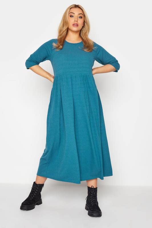 LIMITED COLLECTION Blue Ribbed Midi Dress_A.jpg