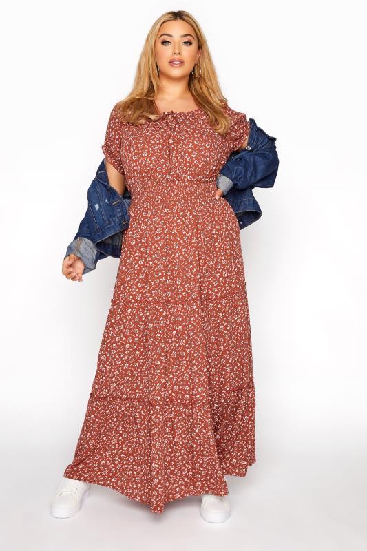 Rust Ditsy Puff Sleeve Boho Smock Maxi Dress_B.jpg