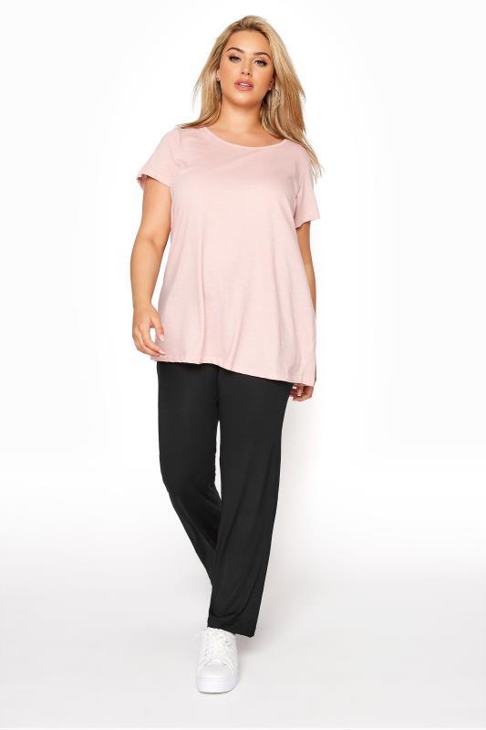 Großen Größen Wide Leg & Palazzo Trousers BESTSELLER Black Wide Leg Pull On Stretch Jersey Yoga Pants