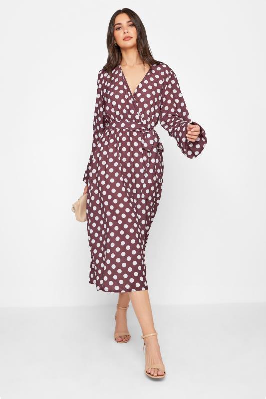 Tall  LTS Brown Polka Dot Wrap Midi Dress