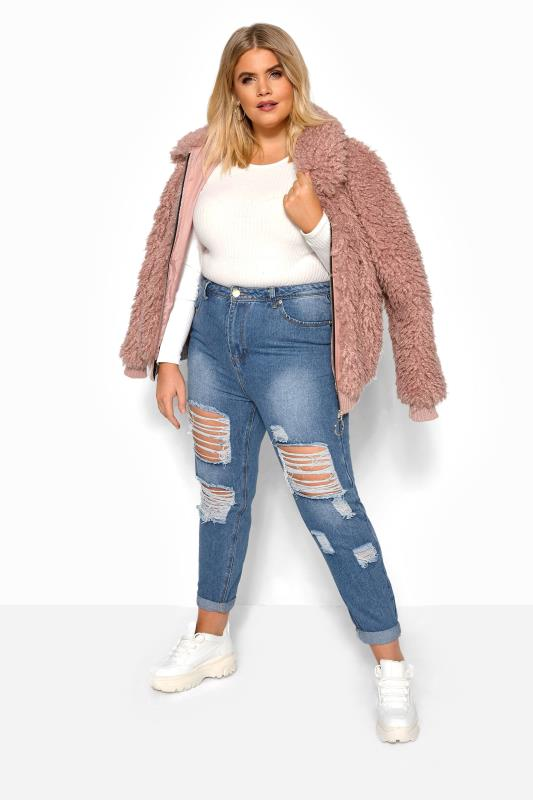 Plus Size Boyfriend Jeans Blue Extreme Ripped Mom Jeans