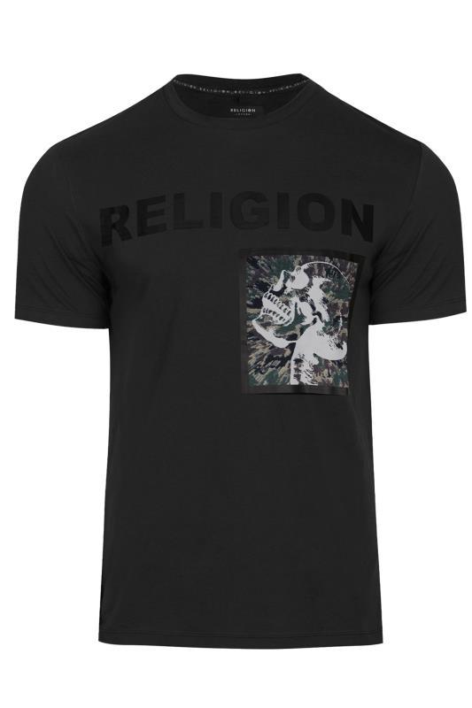 Men's  RELIGION Black Skull Print Logo T-Shirt