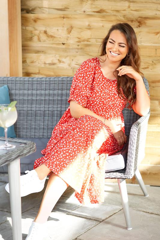 LIMITED COLLECTION Red Daisy Print Tiered Maxi Dress_L1.jpg