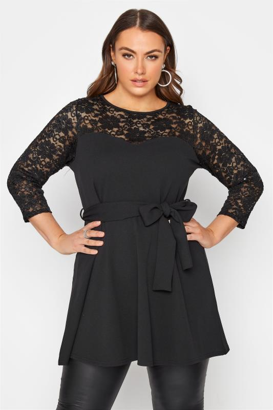 Plus Size  YOURS LONDON Black Embellished Lace Peplum Top
