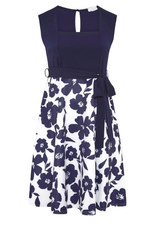 YOURS LONDON Navy Floral Square Neck Dress_F.jpg