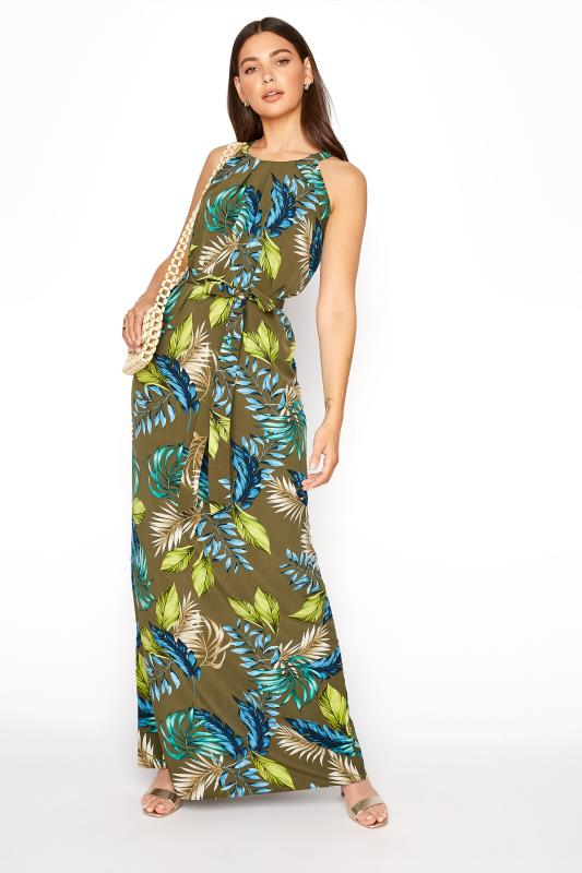 Khaki Leaf Print Halterneck Maxi Dress_B.jpg