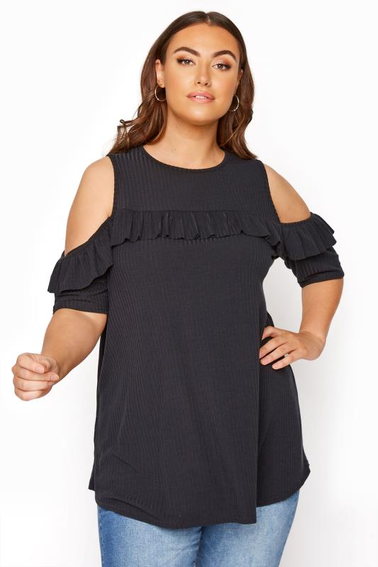 Plus Size  LIMITED COLLECTION Black Cold Shoulder Ribbed Swing Top