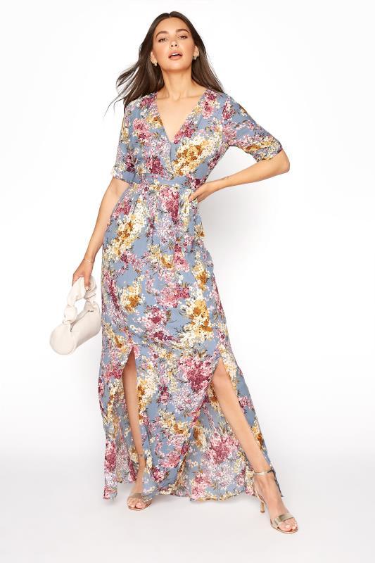 LTS Blue Floral Wrap Front Maxi Dress