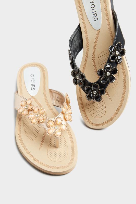 Black Flower Gem Sandals in Regular Fit_F.jpg