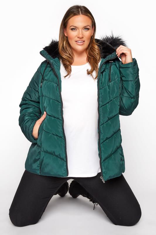 Plus Size  Green PU Trim Panelled Puffer Jacket