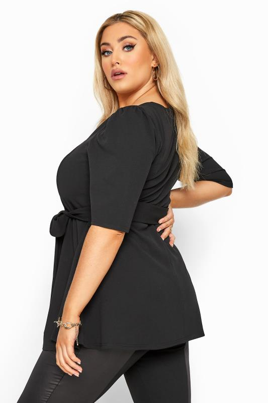 YOURS LONDON Black Notch Neck Belted Peplum Top