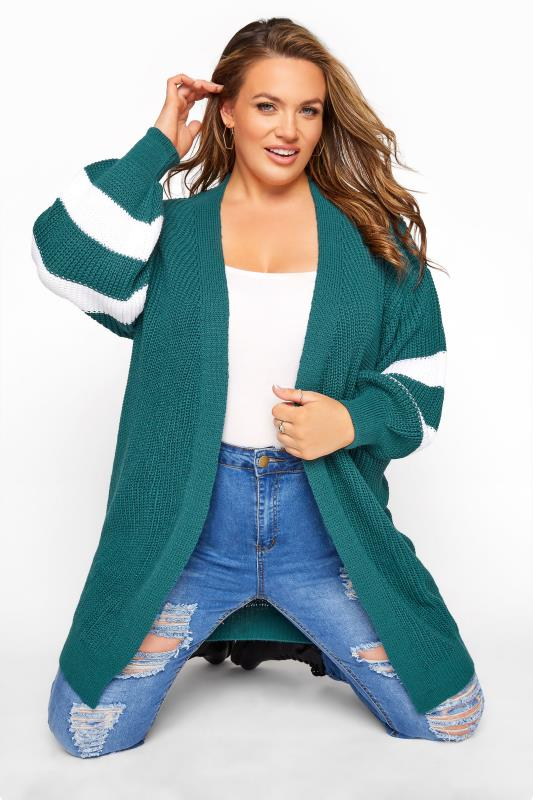 Teal Green Varsity Stripes Knitted Cardigan_A.jpg