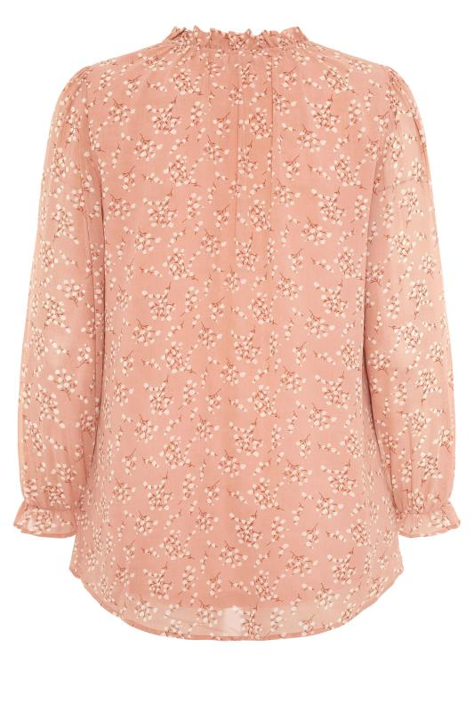 YOURS LONDON Pink Floral Ruffle Collar Blouse_BK.jpg