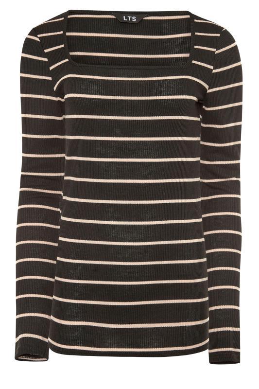 LTS Black Square Neck Stripe T-Shirt_F.jpg