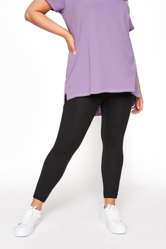 Plus Size Basic Leggings Black Soft Touch Leggings