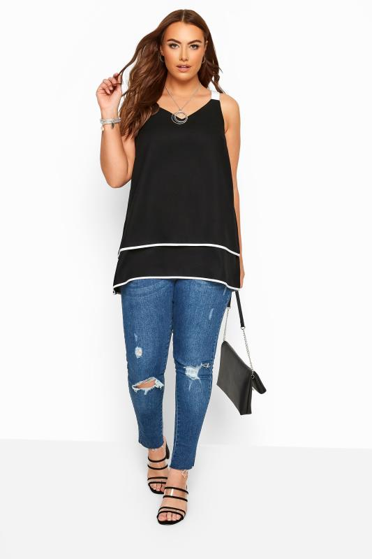 YOURS LONDON Black & White Layered Cami Top
