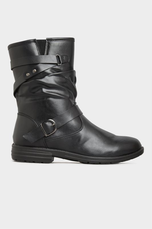 Black Vegan Faux Leather Buckle Detail Boots In Wide Fit_A.jpg