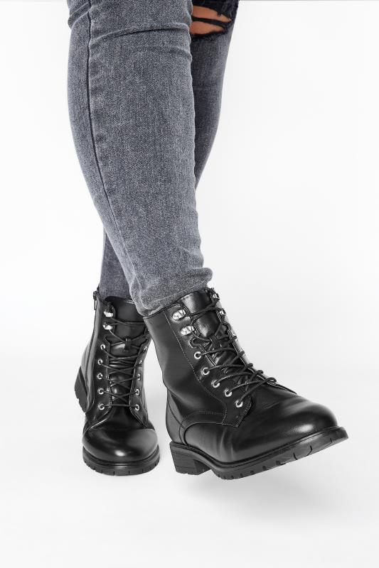 Yours Black Vegan Faux Leather Lace Up Combat Boots In Extra Wide Fit
