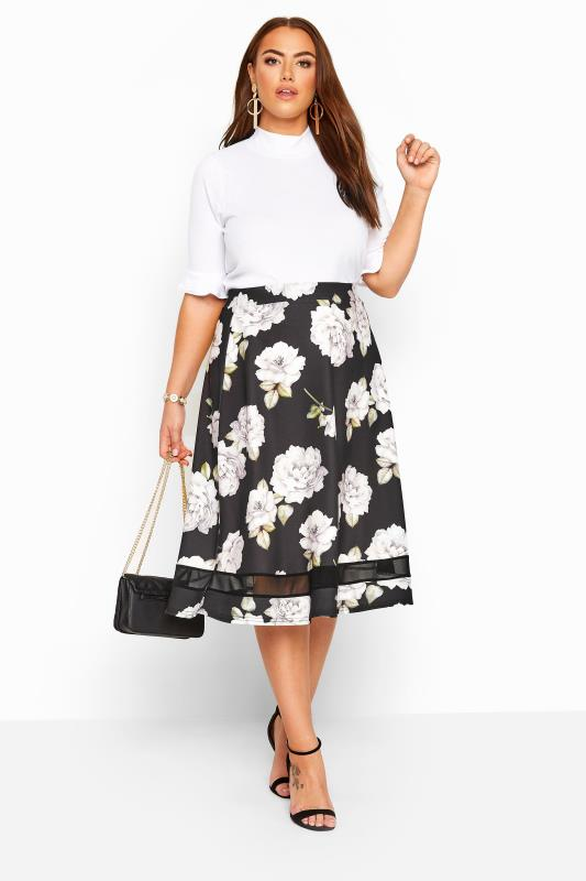 Plus-Größen Midi Skirts YOURS LONDON Black Floral Mesh Panel Flared Skater Skirt