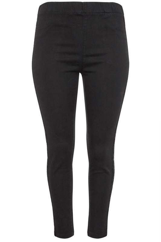 Black Metallic Glitter Side Stripe JENNY Jeggings