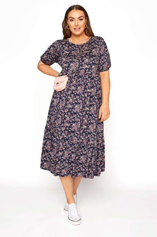 Navy Floral Puff Sleeve Midaxi Dress_B.jpg