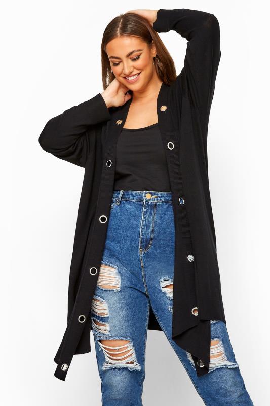 Plus Size Cardigans Black Eyelet Trim Knitted Cardigan