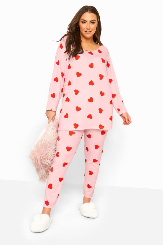 Plus Size  Pink Heart Print Lounge Set