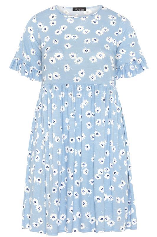 Pastel Blue Floral Frill Sleeve Dress_F.jpg