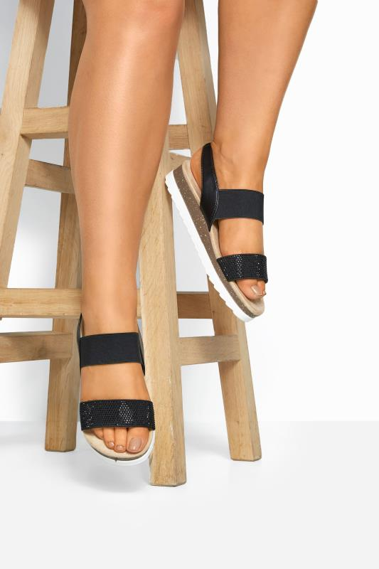 Black Embellished Comfort Sandals In Extra Wide Fit