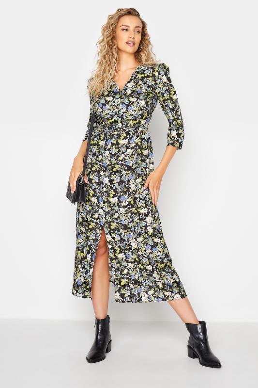 LTS Black Floral Print Midaxi Tea Dress