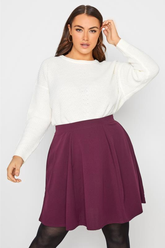 Plus Size  LIMITED COLLECTION Berry Purple Scuba Skater Skirt