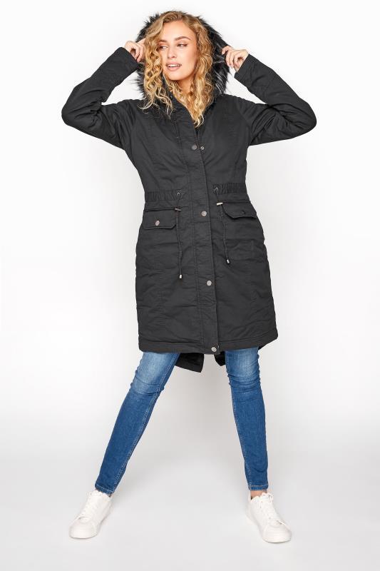 LTS Black Faux Fur Trim Parka