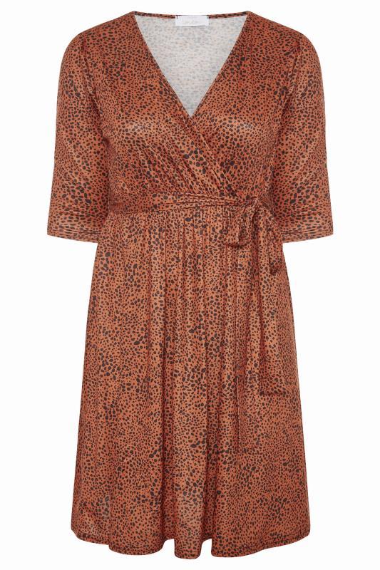 YOURS LONDON Brown Dalmatian Print Wrap Midi Dress_F.jpg