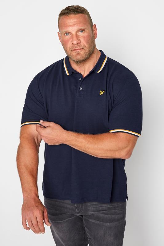 Großen Größen  LYLE & SCOTT Navy Double Tipped Polo Shirt