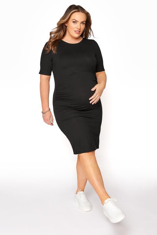 BUMP IT UP MATERNITY Black Short Sleeve Bodycon Dress