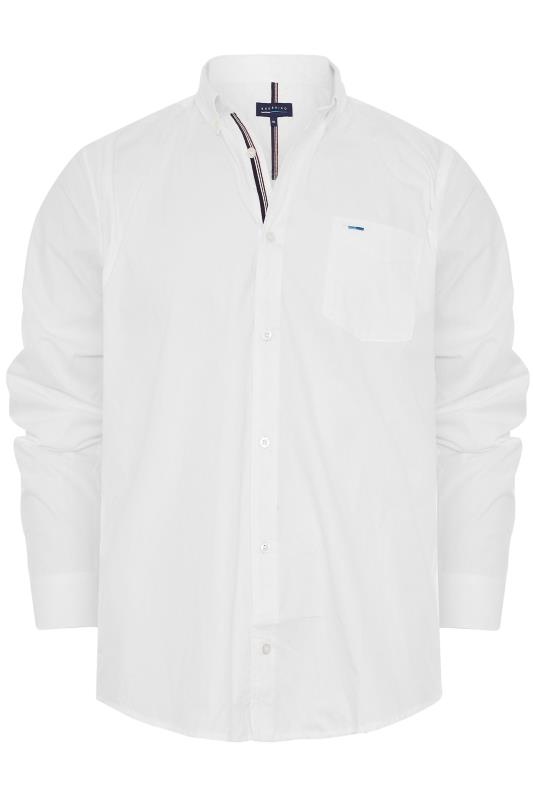 Tallas Grandes BadRhino White Cotton Poplin Long Sleeve Shirt