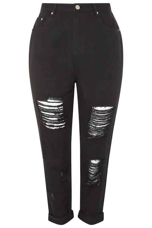 Black Extreme Distressed Mom Jeans