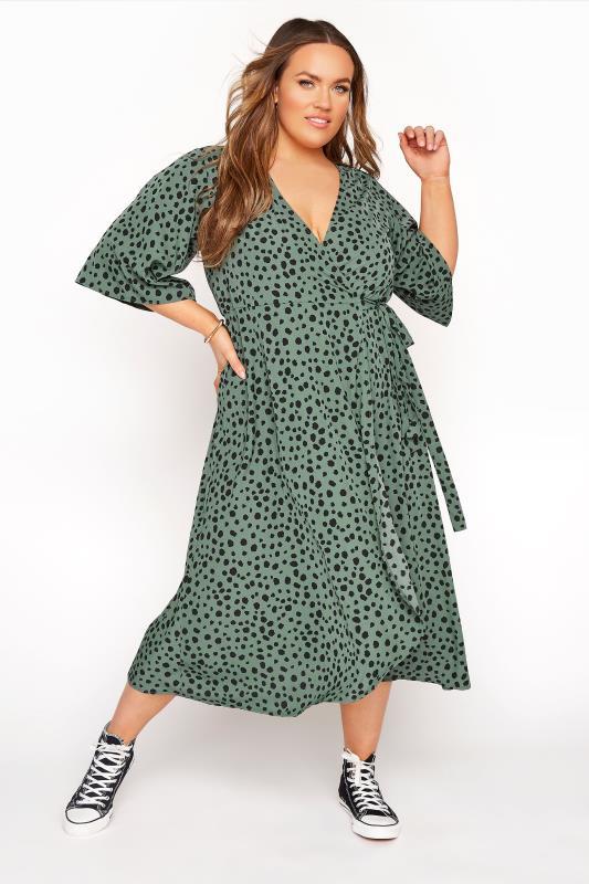 Plus Size  YOURS LONDON Sage Green Dalmatian Wrap Dress