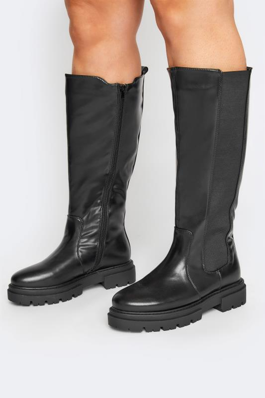 Großen Größen  LIMITED COLLECTION Black Elasticated Knee High Cleated Boots In Extra Wide Fit