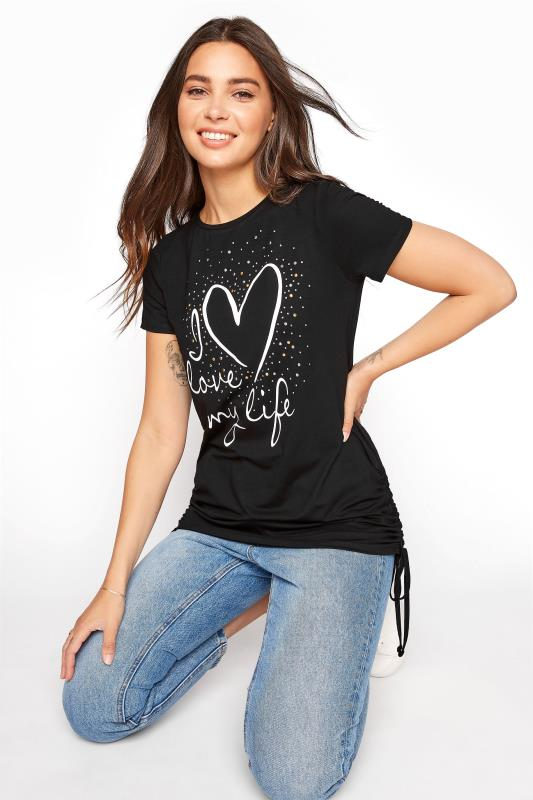 LTS Black 'I Love My Life' Ruched Side Tunic_A.jpg